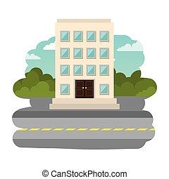 épület, cityscape, hotel, utca táj
