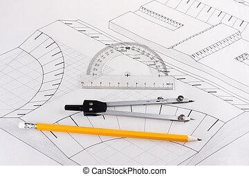 épület, civil, szerkesztés, terv