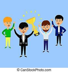 épület, cup., siker, concept., diadal, birtok, befog, arany, vagy, ember