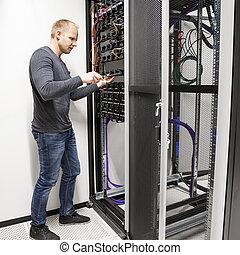 épület, datacenter, hálózat, konzulens, azt, állvány