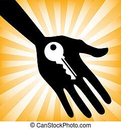 épület, design., kulcs, hatalom kezezés