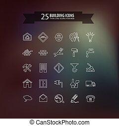 épület, egyenes, gondol, icons.