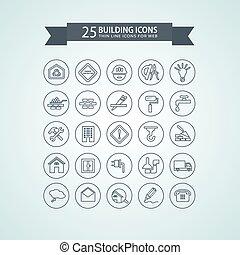 épület, egyenes, gondol, kerek, ikonok
