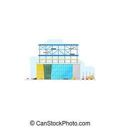 épület, elszigetelt, házhely, szerkesztés, raktárépület, ikon