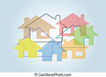 épület, elvont, alakzat, épület, háttér, otthon