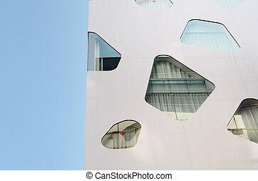 épület, elvont, modern, üres