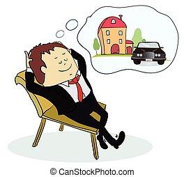 épület, ember, autó, ábrándozás