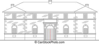 épület, emelés, nemesi kúria, háttér, örökség, elülső, fehér, megnézett