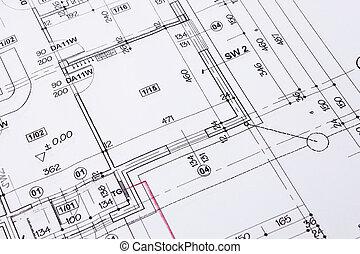épület, emelet ábra, rajz, closeup.