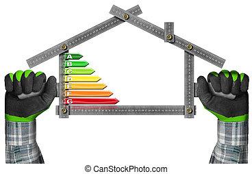 épület, energia, -, termelékenység, alakít, vonalzó