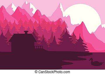 épület, erdő, hegyek