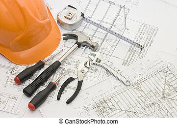 épület, eszközök, képben látható, a, épület, terv