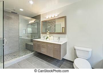 épület, fürdőszoba, fényűzés, öltözék