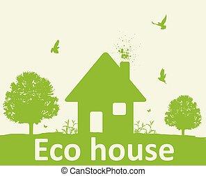 épület, fa, zöld parkosít