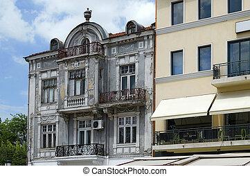 épület, facade., öreg, érdekes