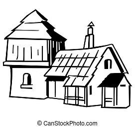 épület, falu