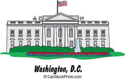 épület, fehér, d.. c., washington