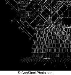 épület, fekete, építészeti, háttér