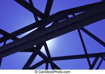 épület, fekete, ipari, kötegel, acél