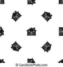 épület, fekete, seamless, motívum