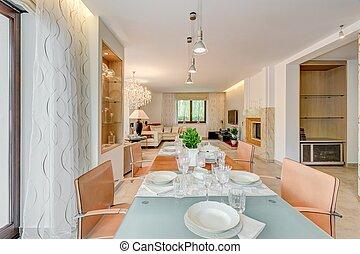 épület, finom, szoba, étkező