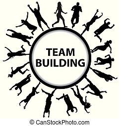épület, fogalom, férfiak, körvonal, befog, nők