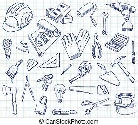 épület, freehand, kellék, rajz