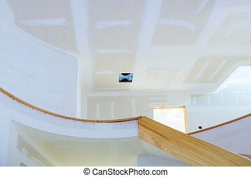 épület, gipsz, befejezetlen, fal, eresztékek, kilátás, házhely., elülső, épület, belső, most, constructed, szoba