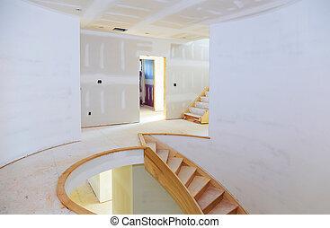épület, gipsz, fal, eresztékek, szerkesztés, új, belső, otthon, drywall