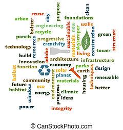 épület, grafikus, szó, építészet