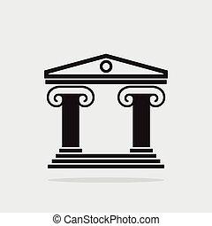 épület, greek oszlop, ősi, ikon, vektor, építészet