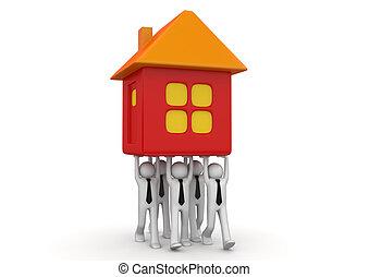 épület, -, gyűjtés, apró, szállítás, businessmen, összezsúfol