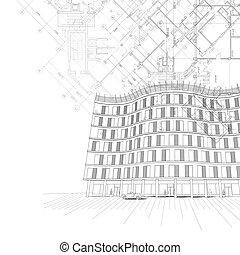épület, háttér, építészeti, alaprajzok