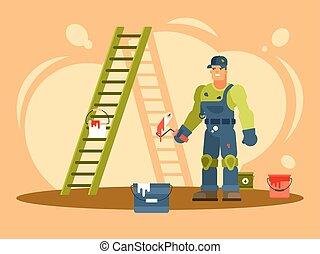 épület, hím, szobafestő, ábra, színes