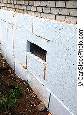 épület, hőszigetelő, öreg, waterproofing, alap