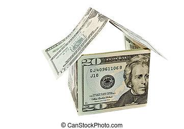 épület, hangjegy, dollár, elszigetelt