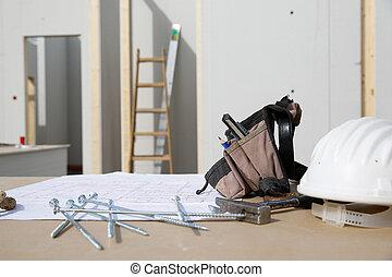 épület, hardver, terv, felszerelés