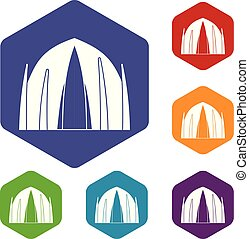 épület, hexahedron, vektor, emberi, ikonok