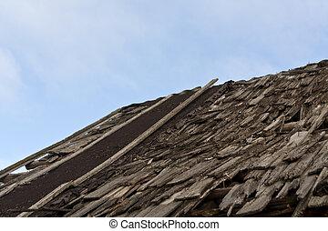 épület, hibás, öreg, roof.
