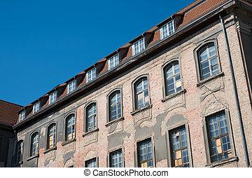 épület, hibás, öreg, withc, restaurálás, külső, épülethomlokzat, előbb