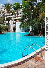 épület, hotel, sziget, pocsolya, tenerife, vízesés, fényűzés, spanyolország, úszás