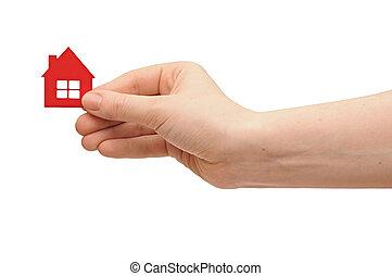 épület icon, alatt, women's, kéz
