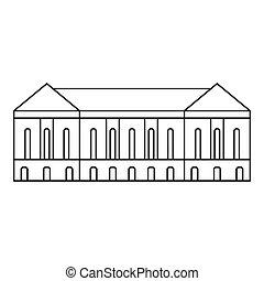 épület, ikon, mód, öreg, áttekintés