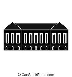épület, ikon, mód, öreg, egyszerű