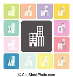 épület, ikon, szín, állhatatos, vektor, ábra