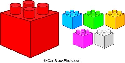 épület, illustration), alapismeretek, vektor, műanyag, szerkesztés, (toy, tömb