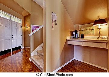épület, interior., belépés előszoba, és, kicsi hivatal, terület