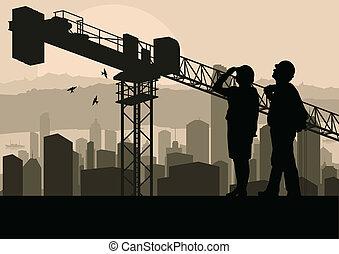 épület, ipari, őrzés, eljárás, házhely, ábra, menedzser, szerkesztés, vektor, felhőkarcoló, háttér, daru, konstruál