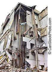 épület, ipari, maradványok, lerombol, belső, kommunikatsiy.