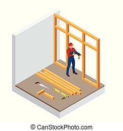 épület, isometric, iparág, fúrás, materials., ábra, szerkesztés, dübörög, wood., profi, interior., új, faanyag, vektor, otthon, ács